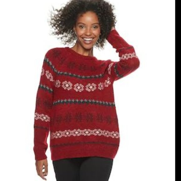 SONOMA GOODS FOR LIFE FAIR ISLE SWEATER RED XS